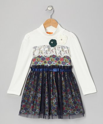 White & Blue Floral Mock Neck Dress - Toddler & Girls