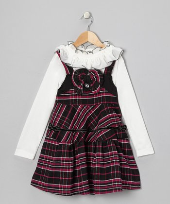 White Ruffle Top & Black Plaid Dress - Girls