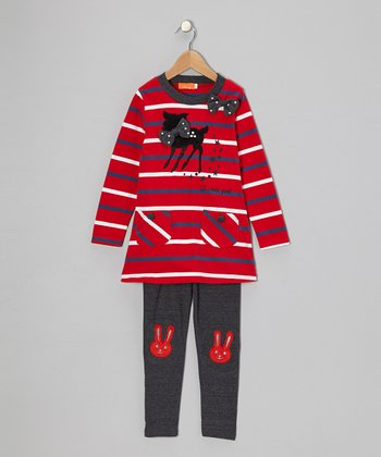 Red Stripe Cat Tunic & Gray Bunny Leggings - Toddler & Girls