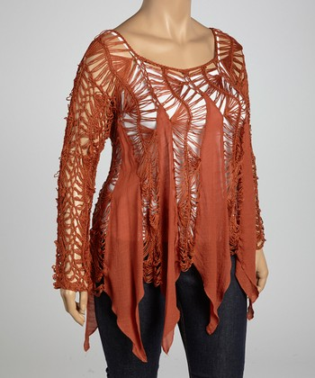 Burnt Orange Crocheted Handkerchief Top - Plus