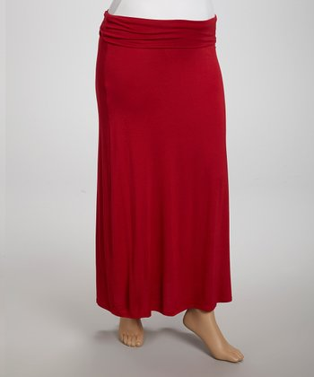 Red Fold-Over Maxi Skirt - Plus
