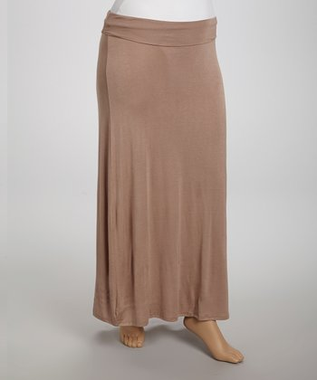 Taupe Fold-Over Maxi Skirt - Plus