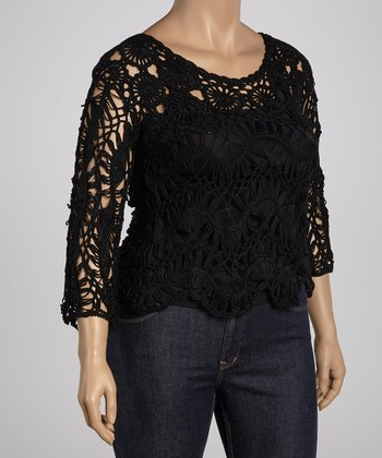 Black Flower Crocheted Three-Quarter Sleeve Top - Plus
