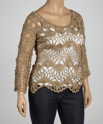 Brown Flower Crocheted Three-Quarter Sleeve Top - Plus