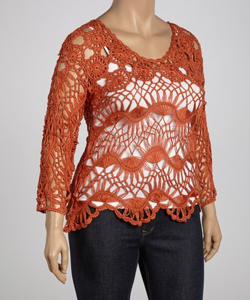 Sunset Flower Crocheted Three-Quarter Sleeve Top - Plus