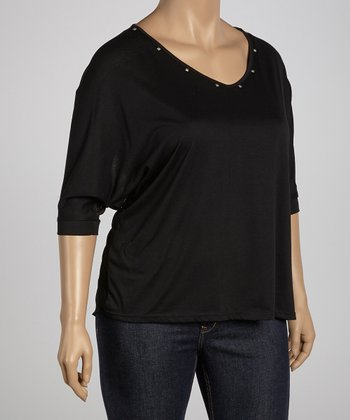 Black Studded Sheer Dolman Top - Plus