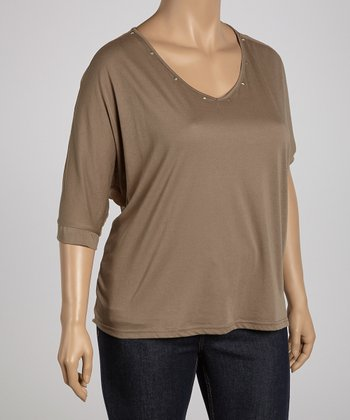 Taupe Studded Sheer Dolman Top - Plus