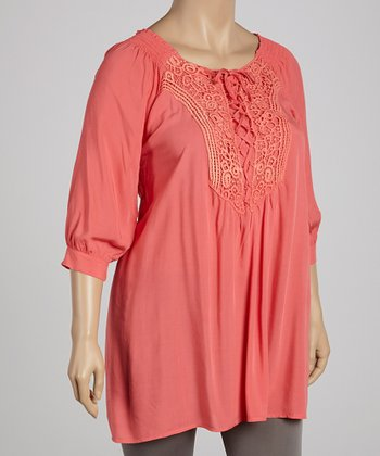 Coral Lace-Up Tunic - Plus