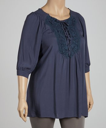 Navy Lace-Up Tunic - Plus