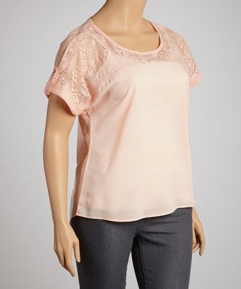 Peach Lace-Back Hi-Low Top - Plus