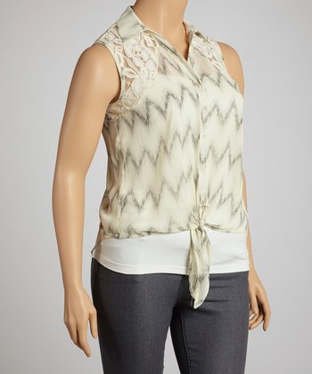 Ivory Zigzag Tie Sleeveless Button-Up - Plus