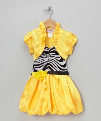 Yellow Stripe Bubble Dress & Shrug - Toddler & Girls