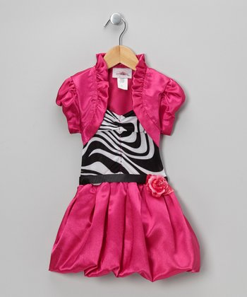 Fuchsia Stripe Bubble Dress & Shrug - Toddler & Girls