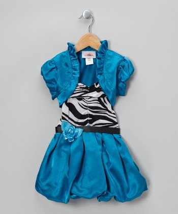 Blue Stripe Bubble Dress & Shrug - Toddler & Girls