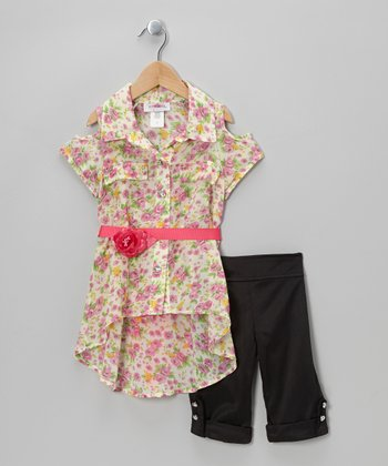 Pink Floral Belted Tunic & Black Capri Pants - Toddler & Girls