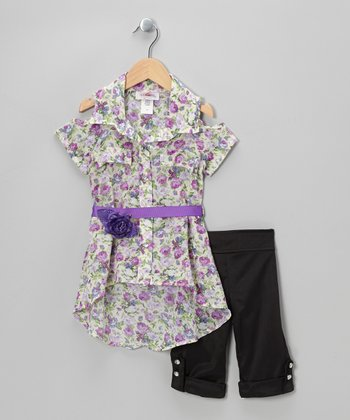 Lilac Floral Belted Tunic & Black Capri Pants - Toddler & Girls