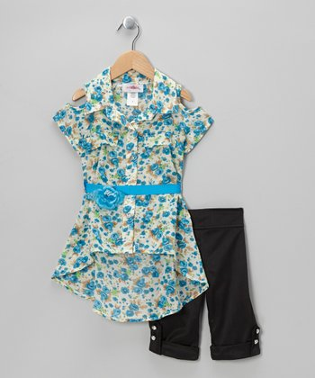 Blue Floral Belted Tunic & Black Capri Pants - Toddler & Girls