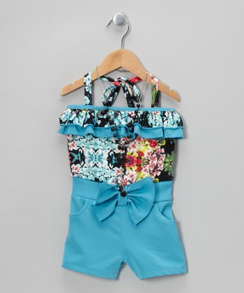 Blue Floral Romper & Black Beaded Necklace - Toddler & Girls