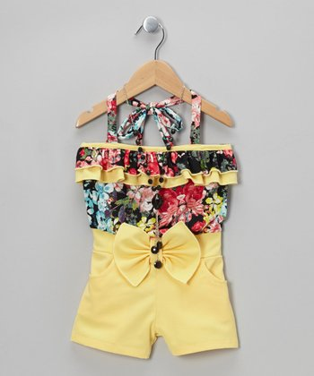 Yellow Floral Romper & Black Beaded Necklace - Toddler & Girls