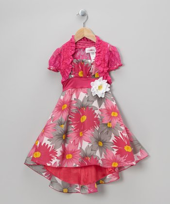 Pink Floral Dress & Lace Shrug - Toddler & Girls
