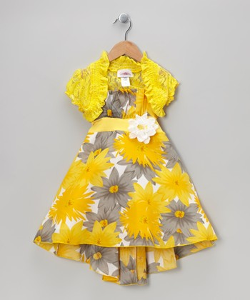 Yellow Floral Dress & Lace Shrug - Toddler & Girls