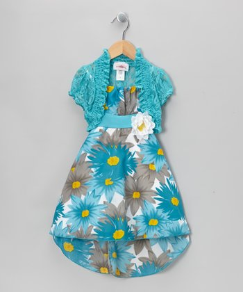 Blue Floral Dress & Lace Shrug - Toddler & Girls