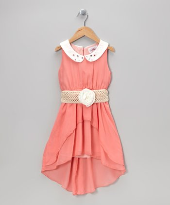 Melon Belted Hi-Low Dress - Toddler & Girls