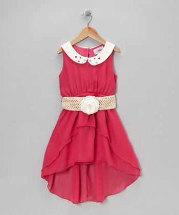Fuchsia Belted Hi-Low Dress - Toddler & Girls