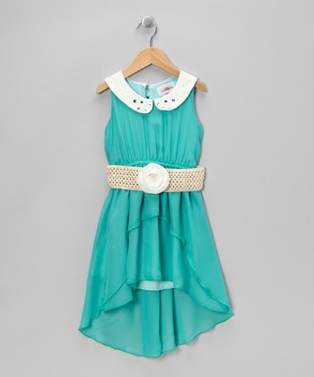 Teal Belted Hi-Low Dress - Toddler & Girls