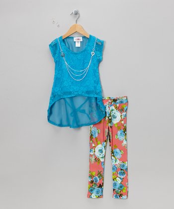 Blue Lace Hi-Low Top Set - Toddler & Girls