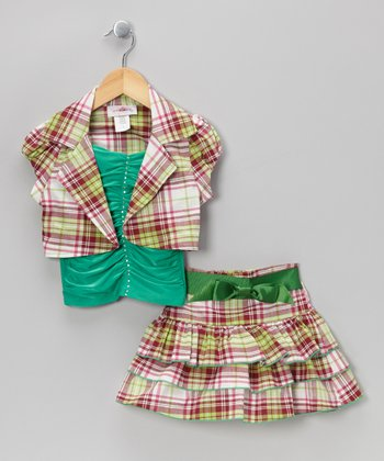 Green Plaid Tiered Skirt Set - Toddler & Girls