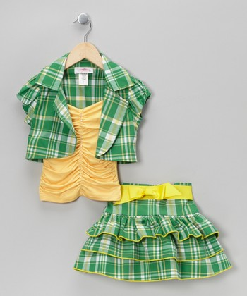 Yellow Plaid Tiered Skirt Set - Toddler & Girls
