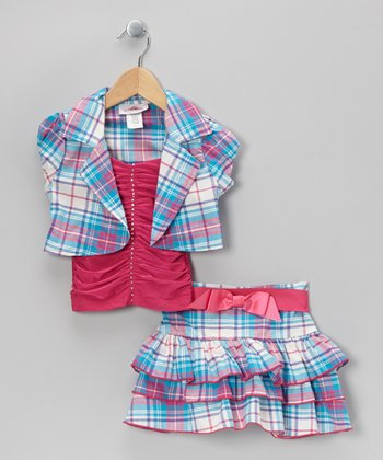 Fuchsia Plaid Tiered Skirt Set - Toddler & Girls