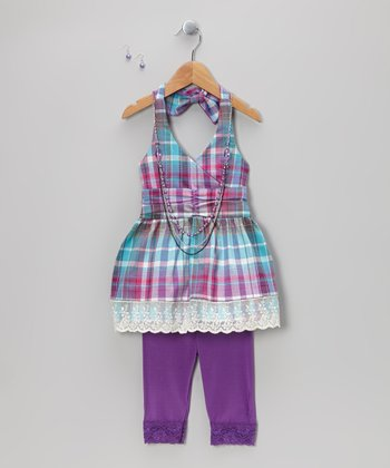 Purple Plaid Halter Top Set - Toddler & Girls