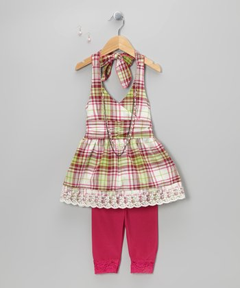 Fuchsia Plaid Halter Top Set - Toddler & Girls