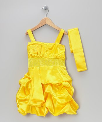 Yellow Tiered Bubble Dress & Sash - Toddler & Girls