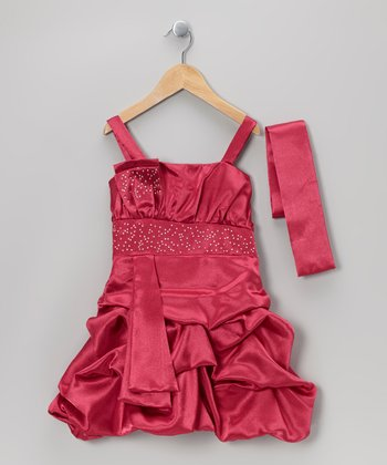 Fuchsia Tiered Bubble Dress & Sash - Toddler & Girls
