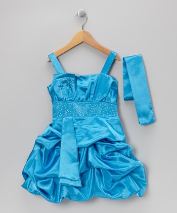 Blue Tiered Bubble Dress & Sash - Toddler & Girls