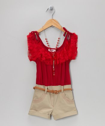 Red Tie-Strap Belted Romper & Necklace - Toddler & Girls