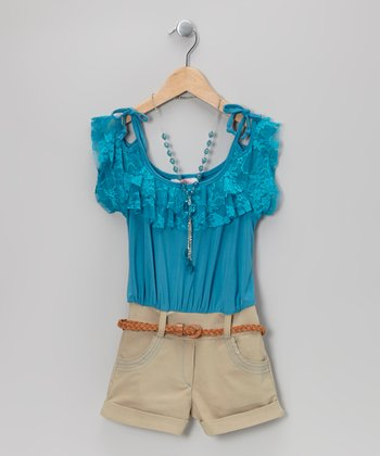 Blue Tie-Strap Belted Romper & Necklace - Toddler & Girls