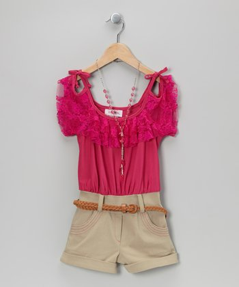 Fuchsia Tie-Strap Belted Romper & Necklace - Toddler & Girls
