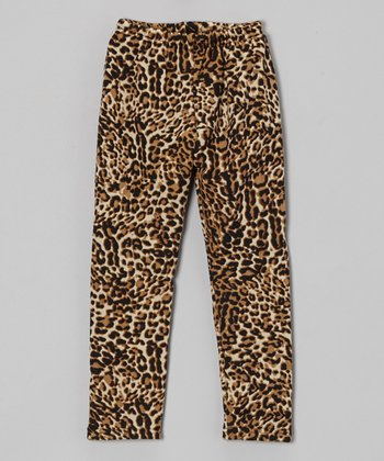 Beige Winter Leopard Leggings - Infant, Toddler & Girls