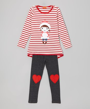 Red Stripe Snow Girl Tunic & Gray Heart Leggings - Girls