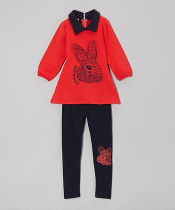 Red Rabbit Tunic & Black Leggings - Toddler & Girls