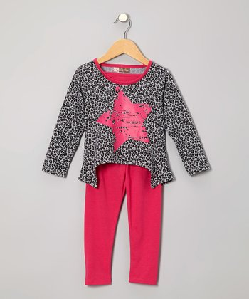 Fuchsia Leopard Star Hi-Low Tunic & Leggings - Toddler
