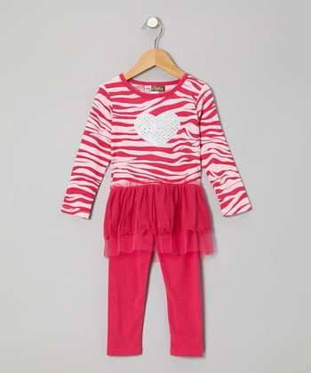 Fuchsia Zebra Layered Tunic & Leggings - Toddler