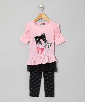 Pink Ruffle Ruched-Sleeve Tunic & Black Dot Leggings - Toddler