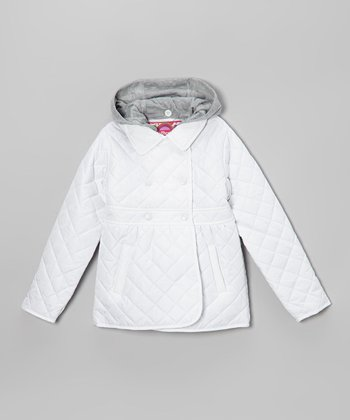 White & Gray Quilted Jacket - Girls