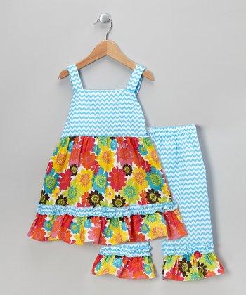 Blue Zigzag Floral Tunic & Capri Pants - Infant, Toddler & Girls