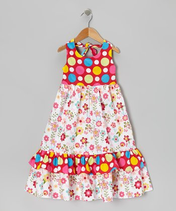 Pink Dot & Floral Halter Dress - Infant, Toddler & Girls